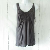 New Velvet By Graham & Spencer Tank Top X Large XL Gray Smocked Front