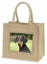 Doberman Pinscher 'Love You Mum' Large Natural Jute Shopping Bag Ch, AD-D2lymBLN