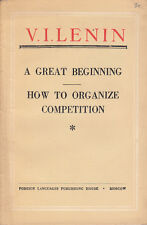 A Great Beginning & How to Organize Competition - V.I. Lenin USSR 1951 Leaflet