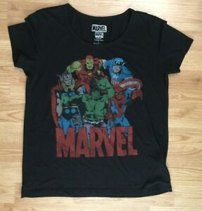 Marvel** Comics Avengers Women's T-Shirt Size L Black Light Weight Round Neck