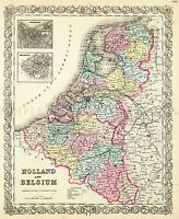 MAP ANTIQUE COLTON 1856 BELGIUM HOLLAND OLD LARGE REPLICA POSTER PRINT PAM0835