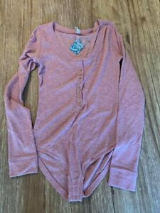 Free People Thermal Bodysuit NWT Small Long Sleeve Buttons