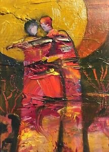 """ACEO Feeling Connected Original Figure Painting By K Fuller 2.5""""x3.5"""""""