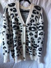 Women's soft leopard button up sweater cardigan size medium