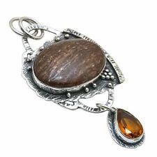"Bronzite, Citrine Gemstone Handmade 925 Sterling Silver Pendant 2.6"""