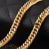 18 Karat dicke Goldkette Königskette vergoldet 60cm lang Frauen Herren Schmuck