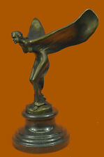 "Rolls Royce Hood Ornament Cast Bronze Flying Lady ""Spirit of Ecstasy"" Sculpture"