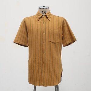 Vintage Pendleton Wool Stripe Short Sleeve Shirt Size L Made in USA