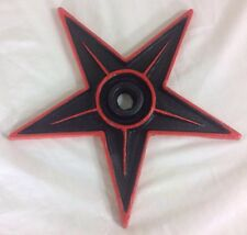 "9"" Cast Iron Pentagram Star Hand Painted Black & Red Wall Hanging Art Home Decor"