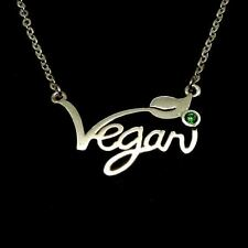 Silver Vegan Word Symbol Necklace Pendant jewelry fashion New with green stone