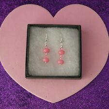 Beautiful Earrings With Pink Morganite Gems 3.3 Gr.3 Cm.Long + 925 Silver Hooks