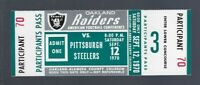 VINTAGE 1970 AFL NFL PITTSBURGH STEELERS @ OAKLAND RAIDERS FULL FOOTBALL TICKET
