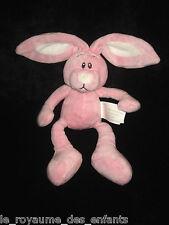 Doudou Lapin rose et blanc avec des grandes oreilles Kimbaloo La Halle 24 cm