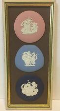 40% OFF  THREE Framed Wedgwood Cobalt,  Blue, Pink Jasperware Plaques Medallions
