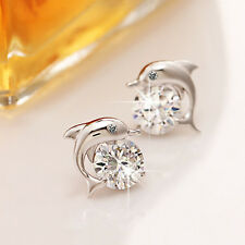 NEW Cute Crystal Eye Dolphin CZ Stud Earrings Women's Silver Jewelry
