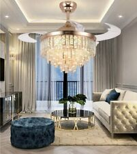 Crystal Retractable Ceiling Fans with Light LED Dimmable Chandelier Living Room