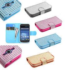 ZTE Concord II 2 Z730 Premium Bling Diamond Wallet Case Cover + Screen Protector