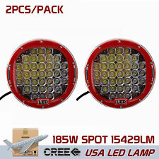 Pair 9inch 185W CREE LED Driving Light Round Spot light Bar Offroad 4WD Red Lamp
