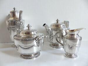 RARE & SUPERB ANTIQUE CHRISTOFLE GALLIA TEA COFFEE SET 4 PIE. w. RAM HEADS 1920s
