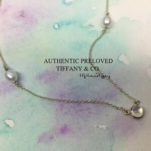 Mint Authentic Tiffany & Co Elsa Peretti By The Yard Moonstone Pearl Necklace