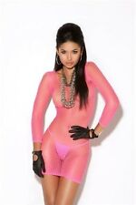 Long Sleeve Diamond Net Dress New Adult Womens Sexy Valentine Neon Pink One Size