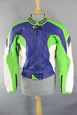 CORNER RACING/SPORTS BLUE, GREEN & WHITE LEATHER BIKER JACKET + CE ARMOUR 36 IN