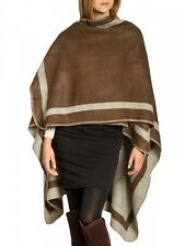 Caspar Ladies Wende Poncho Wool Black Cape Knitted XL Winter Coat Brown One Size