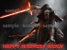 KYLO Ren Star WARS Personalized Edible Photo CAKE Image Icing Topper FREE SHIP