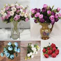 Multi Color Silk Artificial 10 Head Rose Flower Bouquet Wedding Party Home Decor