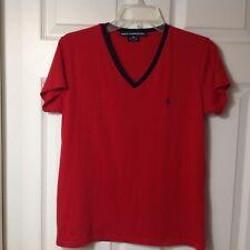 RALPH LAUREN SPORT WOMENS SHORT SLEEVE PULLOVER RED BLOUSE SHIRT TOP,  MEDIUM