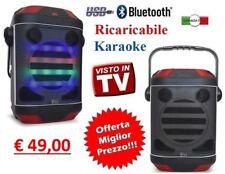 CASSA AMPLIFICATA PORTATILE RICARICABILE SD USB RADIO FM BLUETOOTH LED MP3