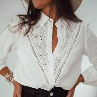 M New Boho White Lace Button Front Blouse Top Vtg 70s Insp Top Womens MEDIUM