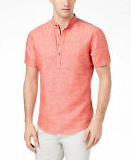 $110 Inc International Concepts Men Red Short Sleeve Henley Linen Cotton Shirt M