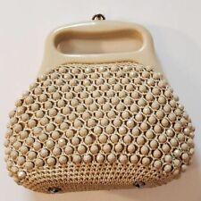Burdine's Sunshine Fashions Italy Crocheted Raffia Beige Purse Vintage 1960s