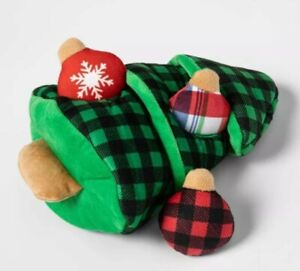 Christmas Tree Ornaments Plush Dog Toy 4 pc. Set Interactive Squeakers
