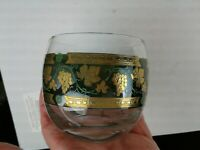 4 Vintage Mint Cera Glass Roly Poly Glasses 22K Gold Green GRAPES Green Barware