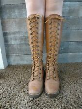 Rare Zodiac Womens Size 7 M Vintage 1970s Leather Tall Lace Up Gum Sole Boots