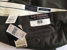 NWT Ralph Lauren Polo University Pleated Wool Dress Pants sz 34 x 32 Dark Green