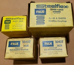 """Complete 1-3/8"""" Falk Rexnord 1040T Coupling Set 2x Hubs - Housing - Spare Grid"""