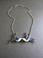 Enamel Bird Necklace Vintage Gold Metal