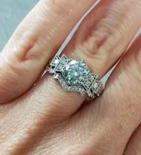Round Wedding Ring Set 2.0 Ct 925 Sterling Silver Light Blue Moissanite Diamond