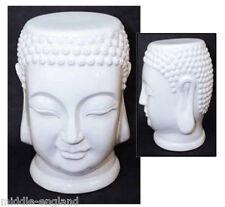 "CERAMIC THAI BUDDHA STOOL GARDEN SEAT 18"" WHITE SIDE LAMP TABLE *BUY 2 SAVE 10%"