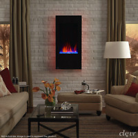 """Clevr 32"""" Vertical Wall Mount Electric Fireplace Heater w/ Backlight & Remote"""