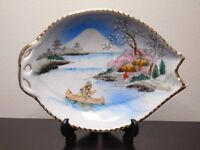 Vintage Hand Painted Ceramic TWNC Candy Trinket Dish Plate Made in Japan