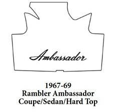 1967 1968 AMC Cpe / Sdn Hardtop Trunk Rubber Floor Mat Cover w/ A-003 Ambassador