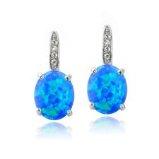 925 Silver Created Blue Opal & Diamond Accent Oval Leverback Earrings