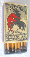 THE TIGER ATTACK - SAFETY MATCHES, MADE IN SWEDEN
