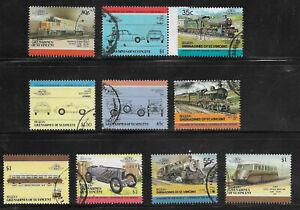 E418] BEQUIA 10 different 'Leaders of the World' trains/cars stamps USED