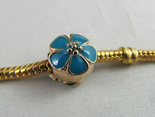GOLD PLATED/TURQUOISE  ENAMEL SPACER CHARMS EURO STYLE CHARM BRACELETS  (SP 072)