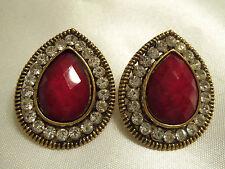 BEAUTIFUL Antiqued Goldtone Setting Rhinestones & RED Center Earrings 13E014